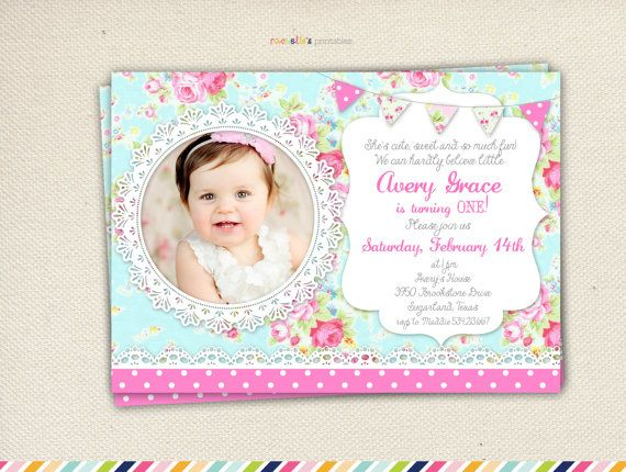 Shabby Chic Birthday Invitation - First Birthday on Etsy, $1100 - invitation for 1st birthday party girl