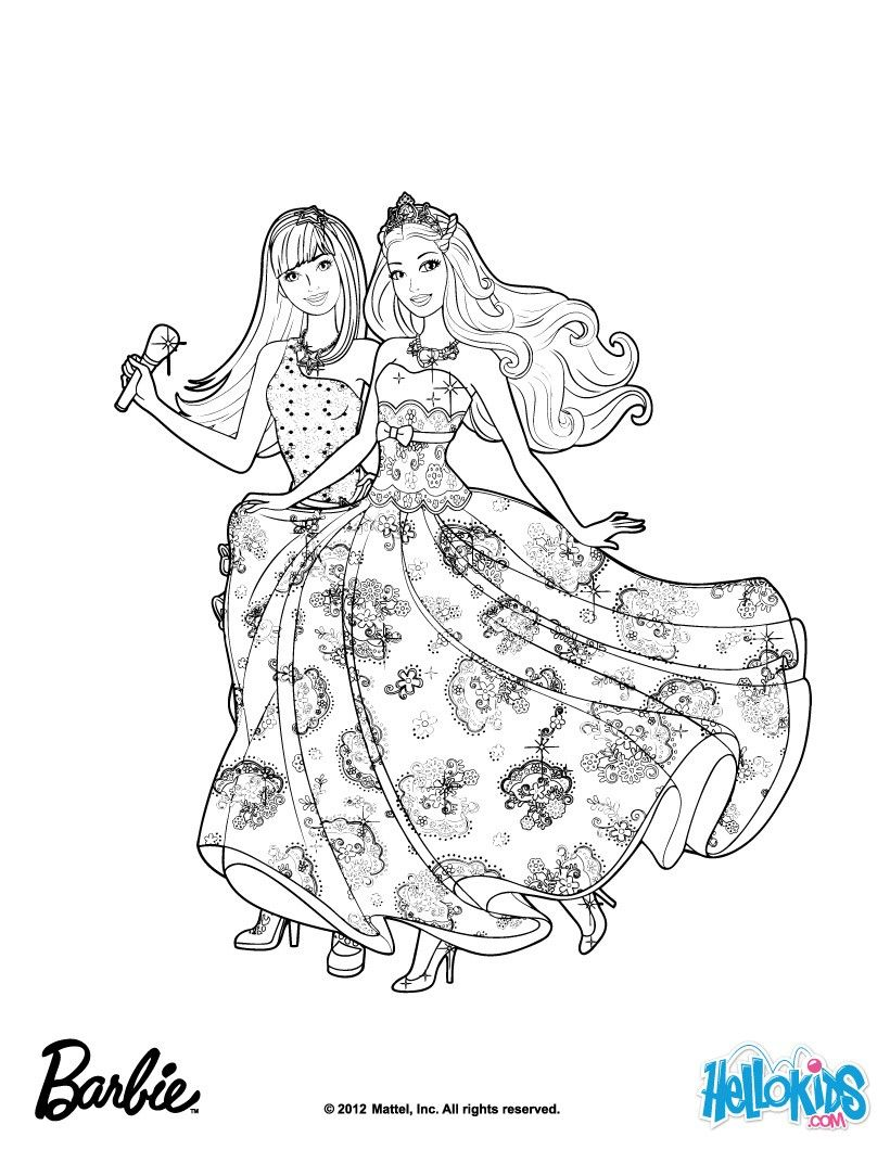 Forever Music Barbie Coloring Sheet More Barbie The Princess The Popstar Coloring Pages On Hellokids Co Barbie Coloring Pages Coloring Pages Barbie Coloring