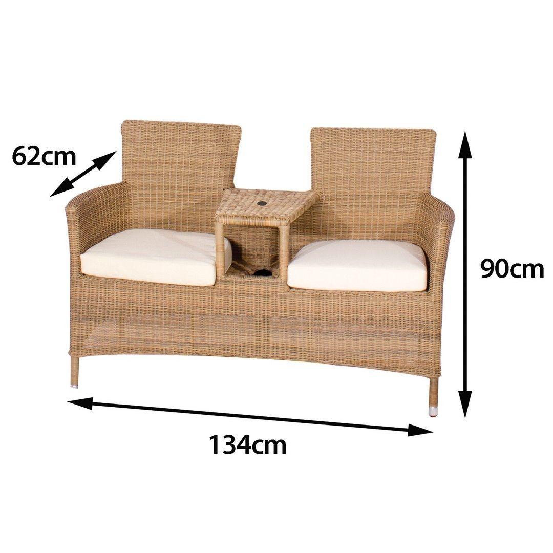 bonsoni hiral rattan 2 seater love seat in 4 seasons garden outdoor furniture - Garden Furniture Love Seat