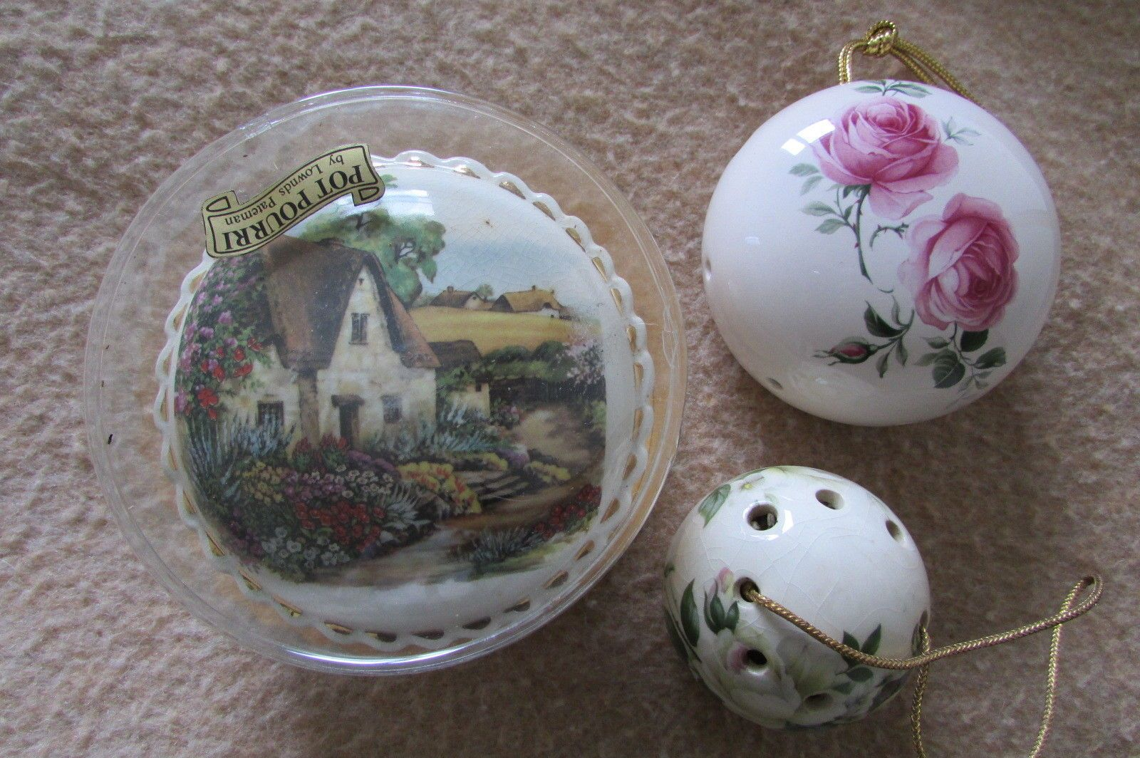 These three Pomanders have been in a tin box in one of my cupboards for the last 20 years and probably date back to the 60s. The rose design one is approx 8cm in diameter - has a golden tassle - unerneath 'Ye Olde Ceramic Pomander filled with Perfumed Flowers - Aidees of Torquay, Devon. | eBay!