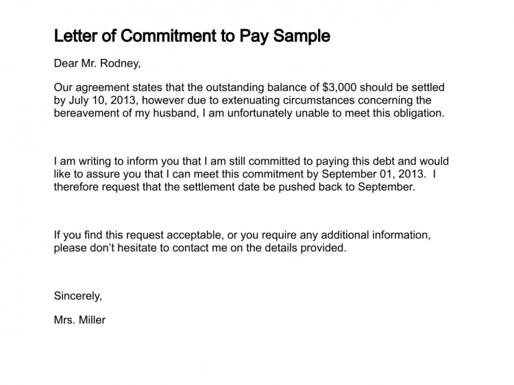 Letter of Commitment to Pay Sample | types of clearance