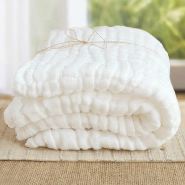 Swaddle Blanket  White with Yellow Pom Pom Swaddle Blanket Gauze Blanket  Blanket  Blanket  Newborn Blanket  Newborn Baby Blanket