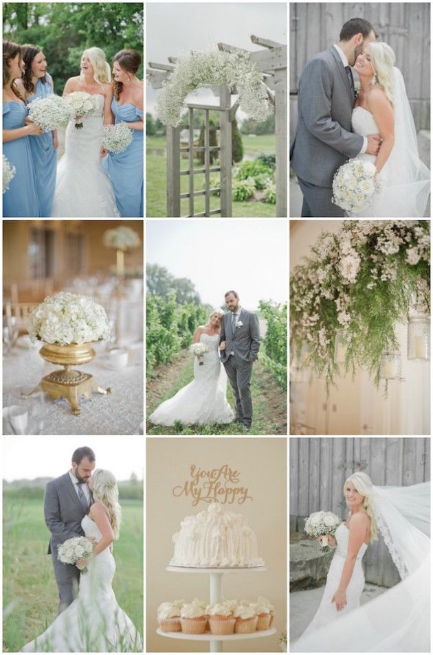 With contrasting hues of blue and gold with cloud-like white blossoms scattered throughout, the overall style of this wedding day was airy, soft and sophisticated.