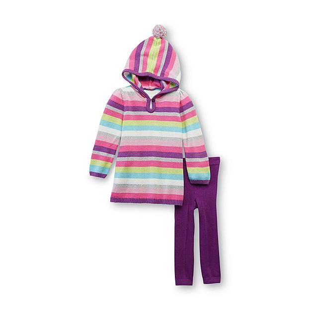 WonderKids Infant & Toddler Girl's Hooded Sweater Tunic & Leggings - Striped