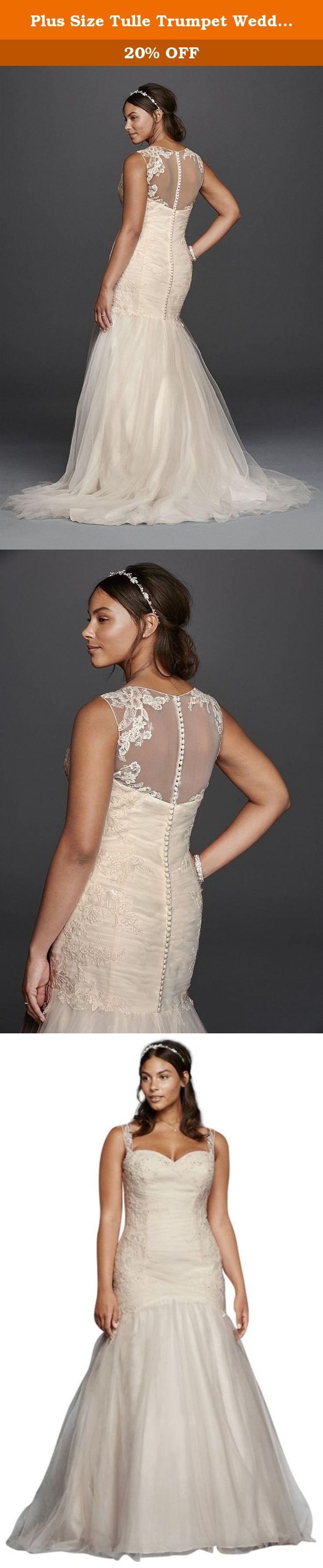 Plus size tulle wedding dress  Plus Size Tulle Trumpet Wedding Dress Style WG Ivory W