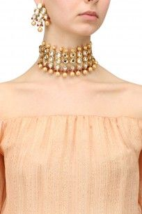 1d627289aa Gold Finish Polki Stone and Pearl Three String Necklace Set ...