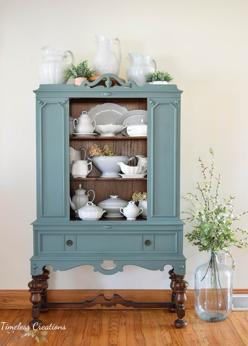 Bold and Beautiful Antique Hutch Makeover 7