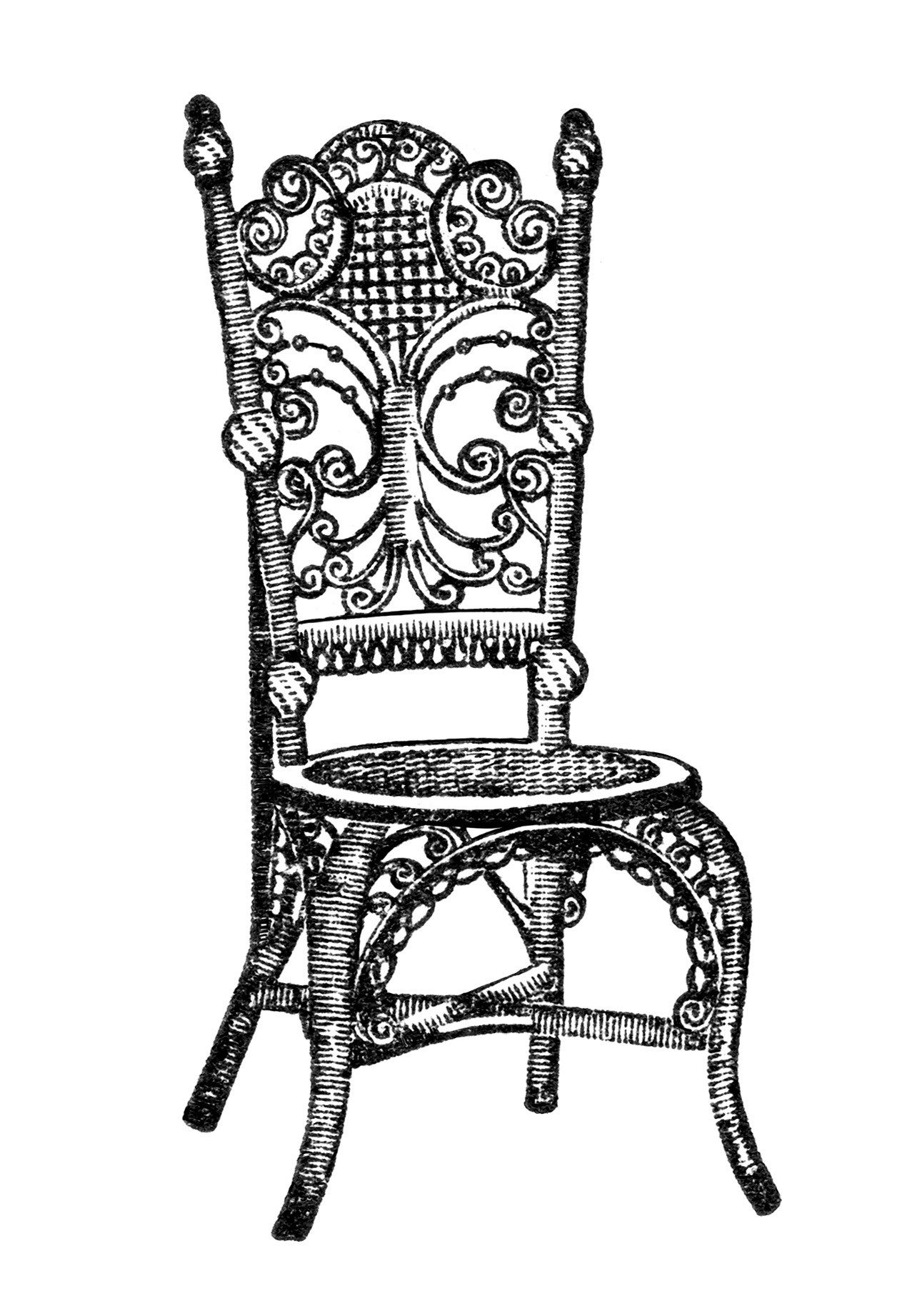 vintage chair clipart, old fashioned parlor chair, antique