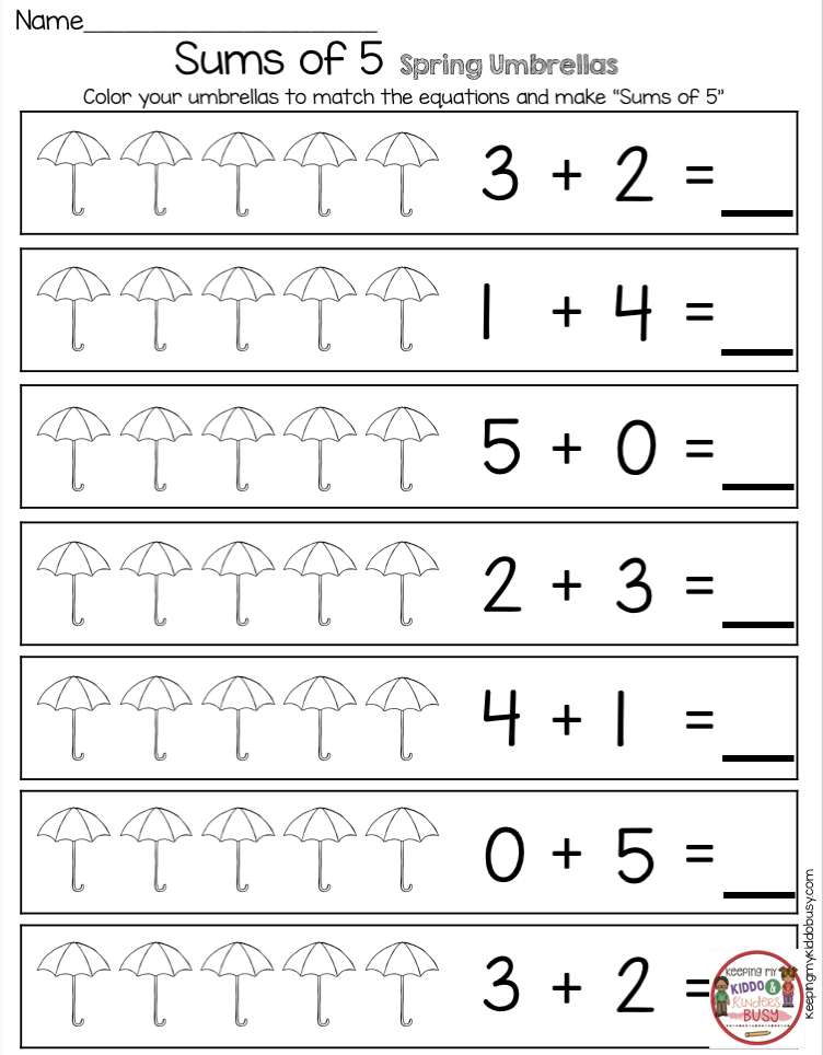 April In Kindergarten Free Worksheets Keeping My Kiddo Busy Kindergarten Math Worksheets Free Kindergarten Printables Kindergarten Math Worksheets Free