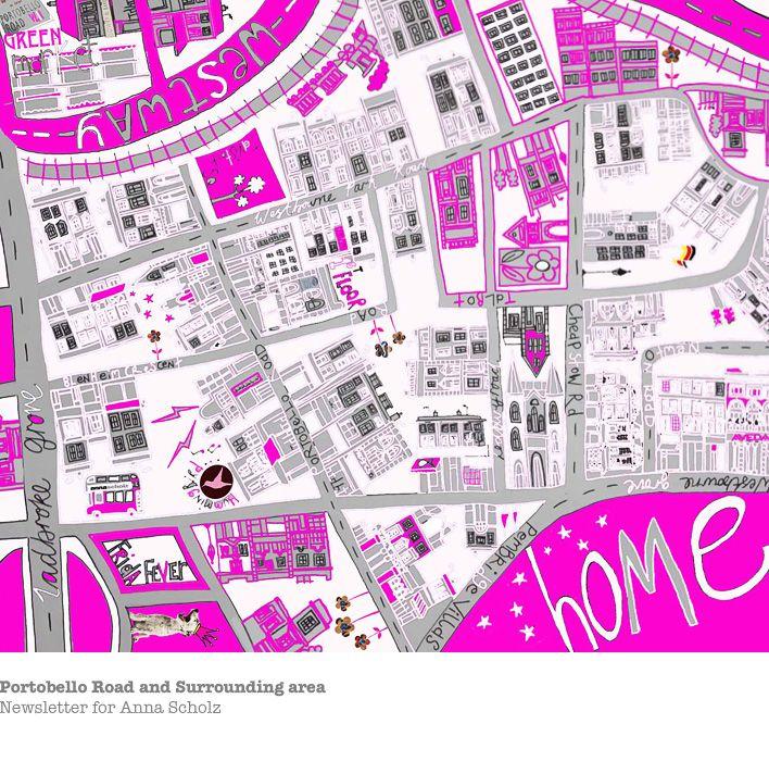 Lucie Conoley Portobello Road map London I wish Pinterest