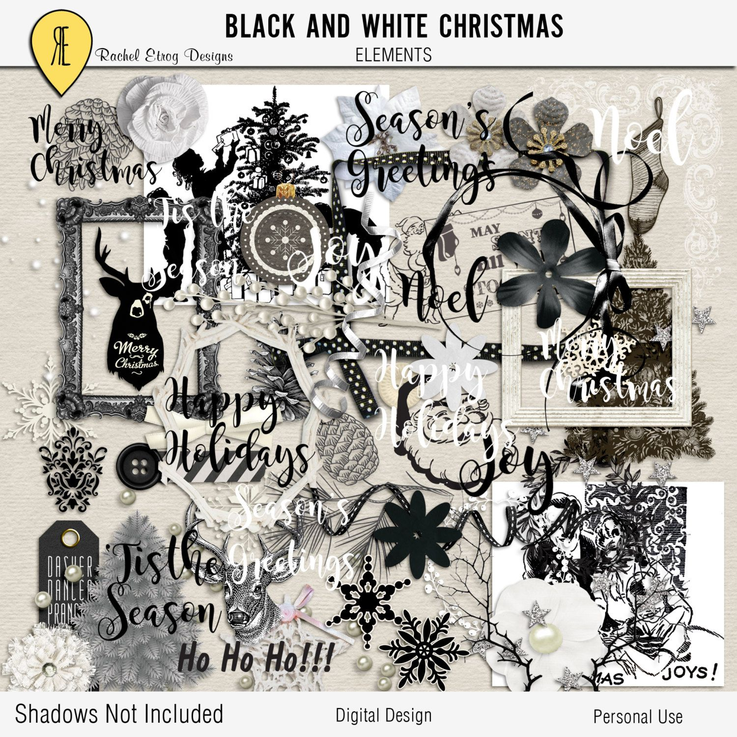 Black And White Christmas - Digital Scrapbooking Elements by Racheletrogdesigns on Etsy