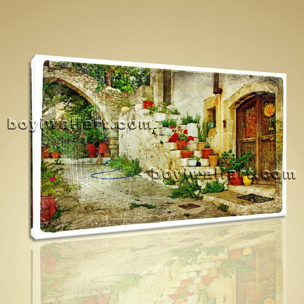 Large greek village abstract retro wall art on canvas print decor