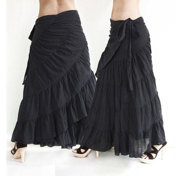 86e48d76f5 Tie Waist Cotton Maxi Wrap Skirt Free Size Loose Fit by Khaosan ...