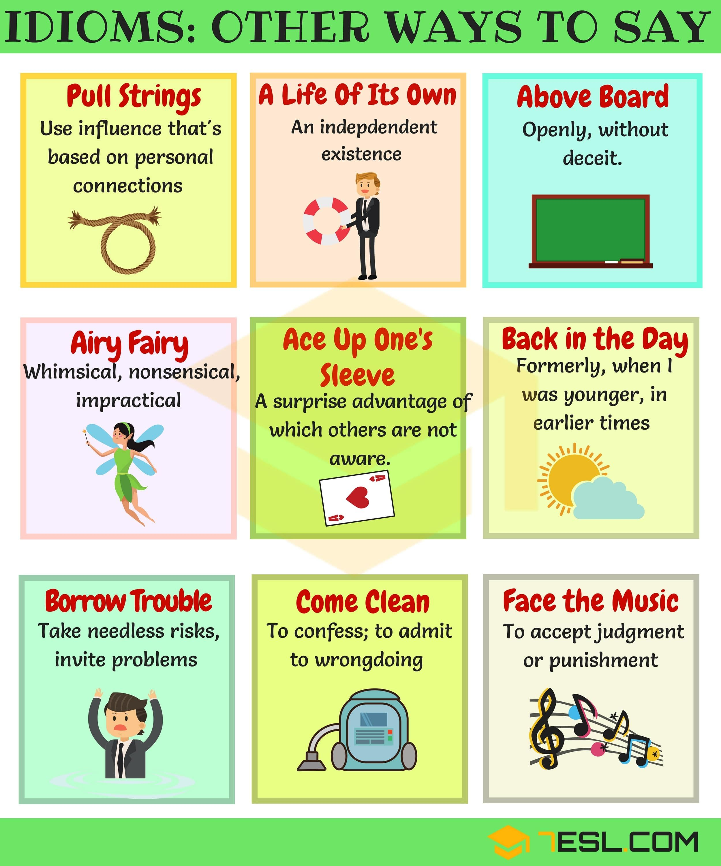100 Useful Idiomatic Expressions From A Z With Examples