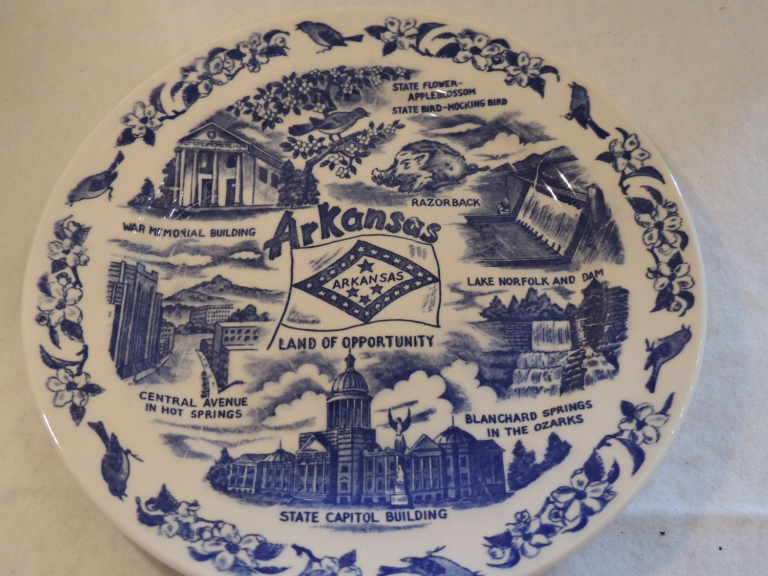 Arkansas Blue and  White Souvenir Plate 9 1/4 inch Display Plate Land of Opportunity by PurveyorsOfFineJunk on Etsy