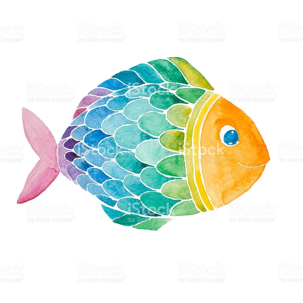 Rainbow Smiling Fish Watercolor Painted Isolated On White