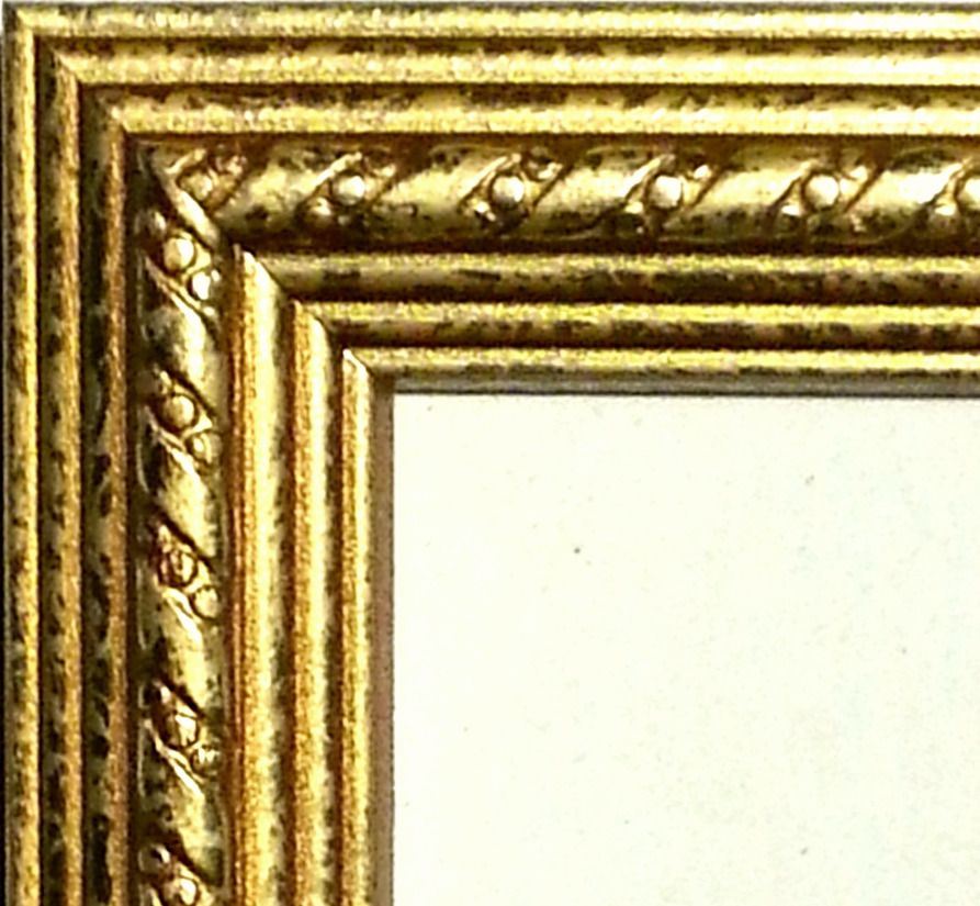 24 Ft Gold Picture Frame Moulding Wood Weathered Ribbon Crown