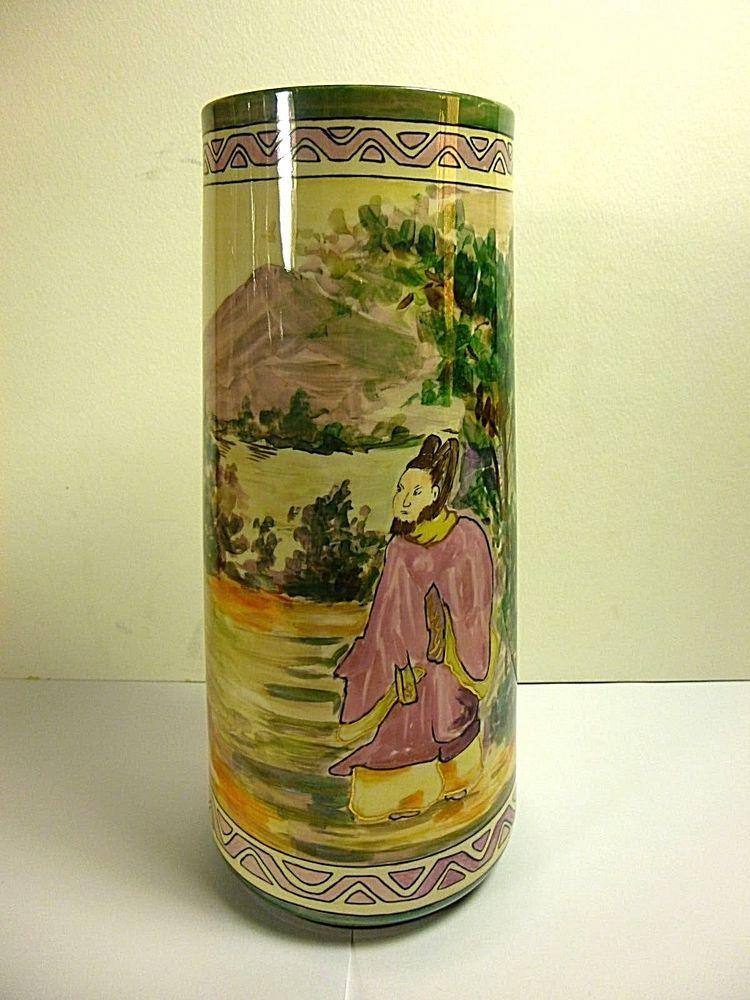 Antique Belleek Willets Asian Design Decor 10tall Vaseartist Signed