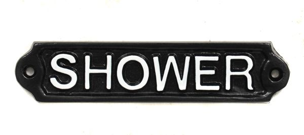 Shower room sign cast in solid aluminium with hand painted