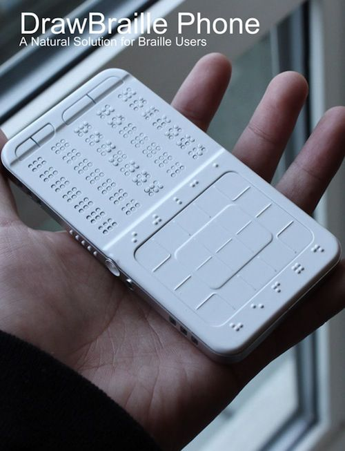 UK-based designer Shikun Sun has created a concept design for smartphone especially for the blind.    The 'DrawBraille Mobile Phone' has a Braille keyboard and touchscreen and functions like a normal phone.