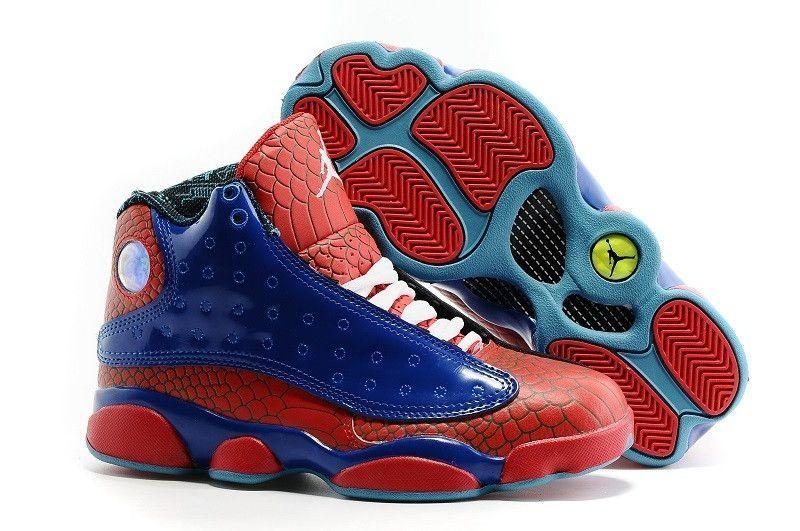 Buy 2016 Air Jordans 13 \\u201cSpiderman\\u201d Blue-Red Snakeskin For Sale  Best