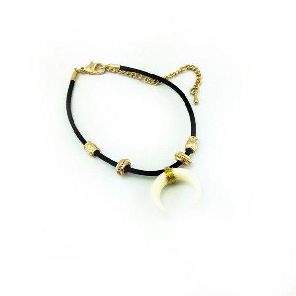 Crescent Luna Charm Cord Bracelet