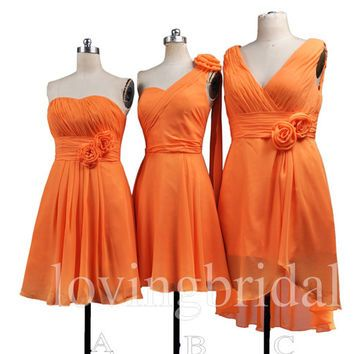 orange bridesmaid dresses short