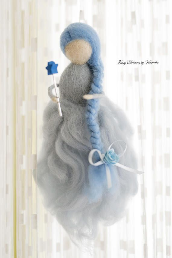 Blaue Fee Puppenhaus Prinzessin Nadel Gefilzt Fee Waldorf