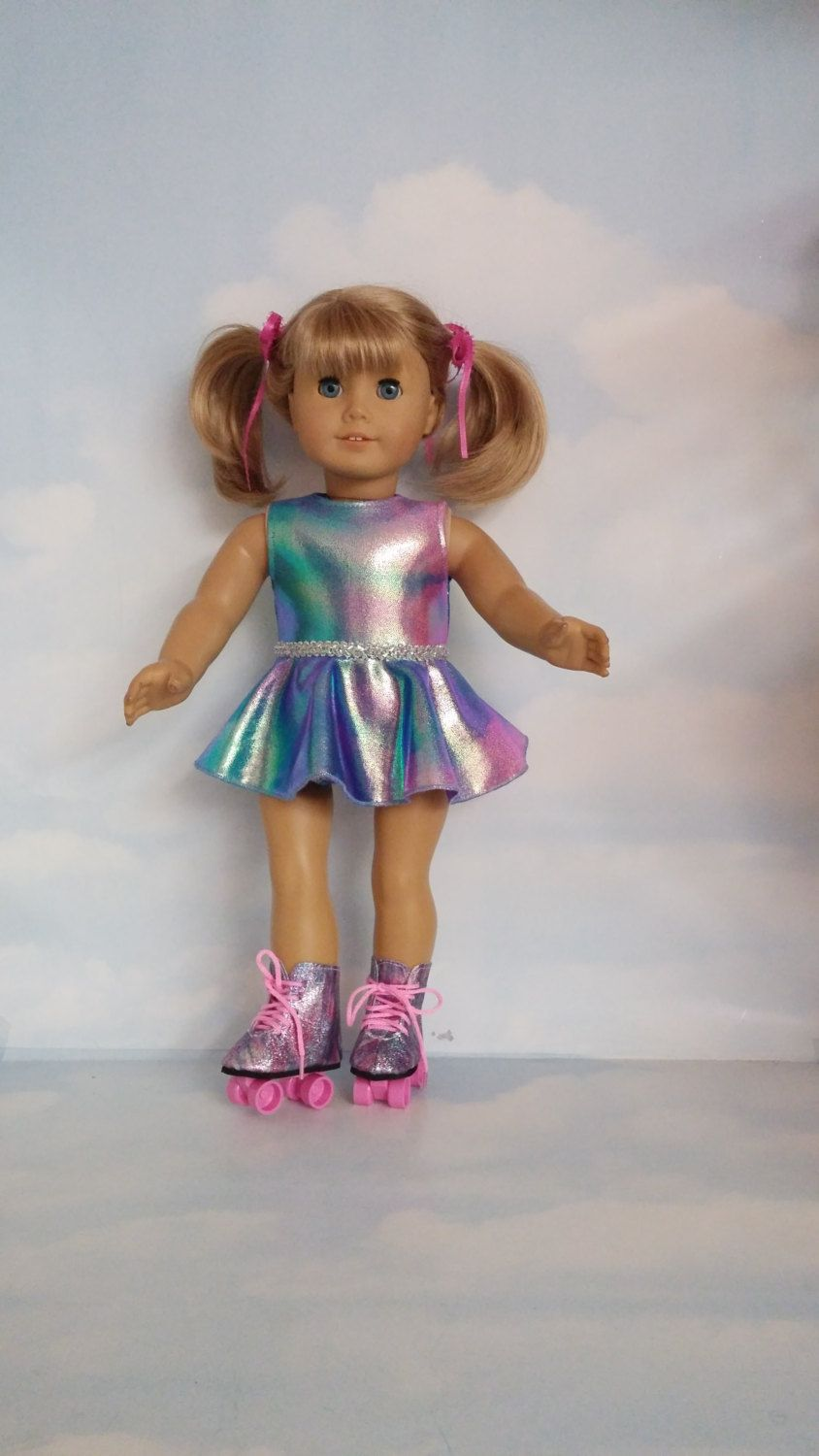 18 inch doll clothes - #830 Rainbow Roller Skating Outfit handmade ...