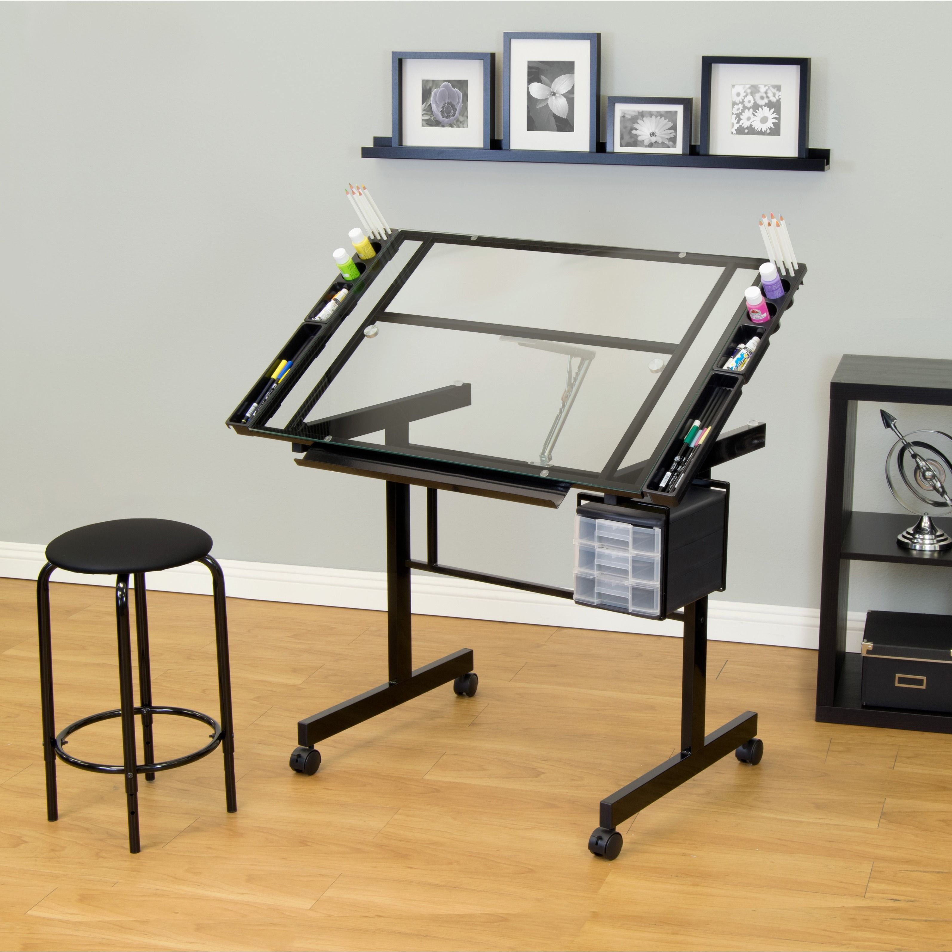 Small kitchen table and 2 chairs  Studio Designs Vision piece Clear Glass Top Drafting Table with