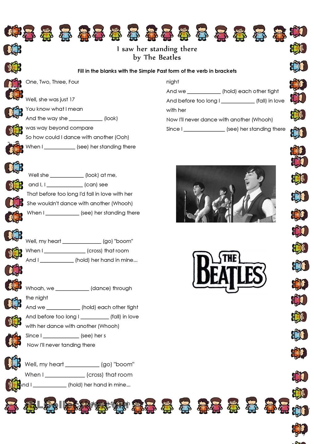 Past Simple Song By The Beatles Con Imagenes Ingles