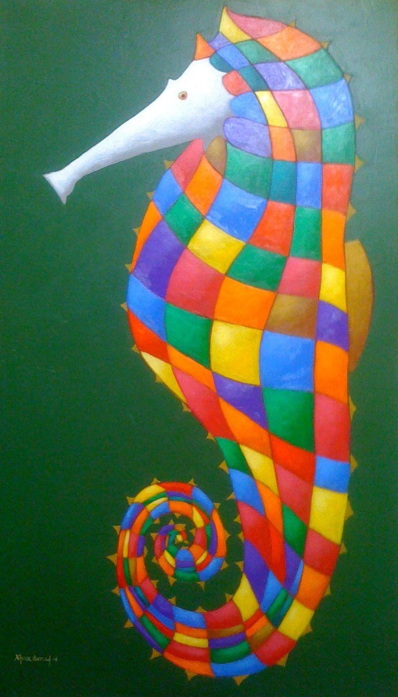serie '' caballitos de mar '' acrilico sobre lona - 2014 . obra original .