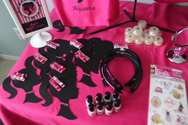 Fun favors at a Barbie party!  See more party ideas at CatchMyParty.com!  #partyideas #barbie
