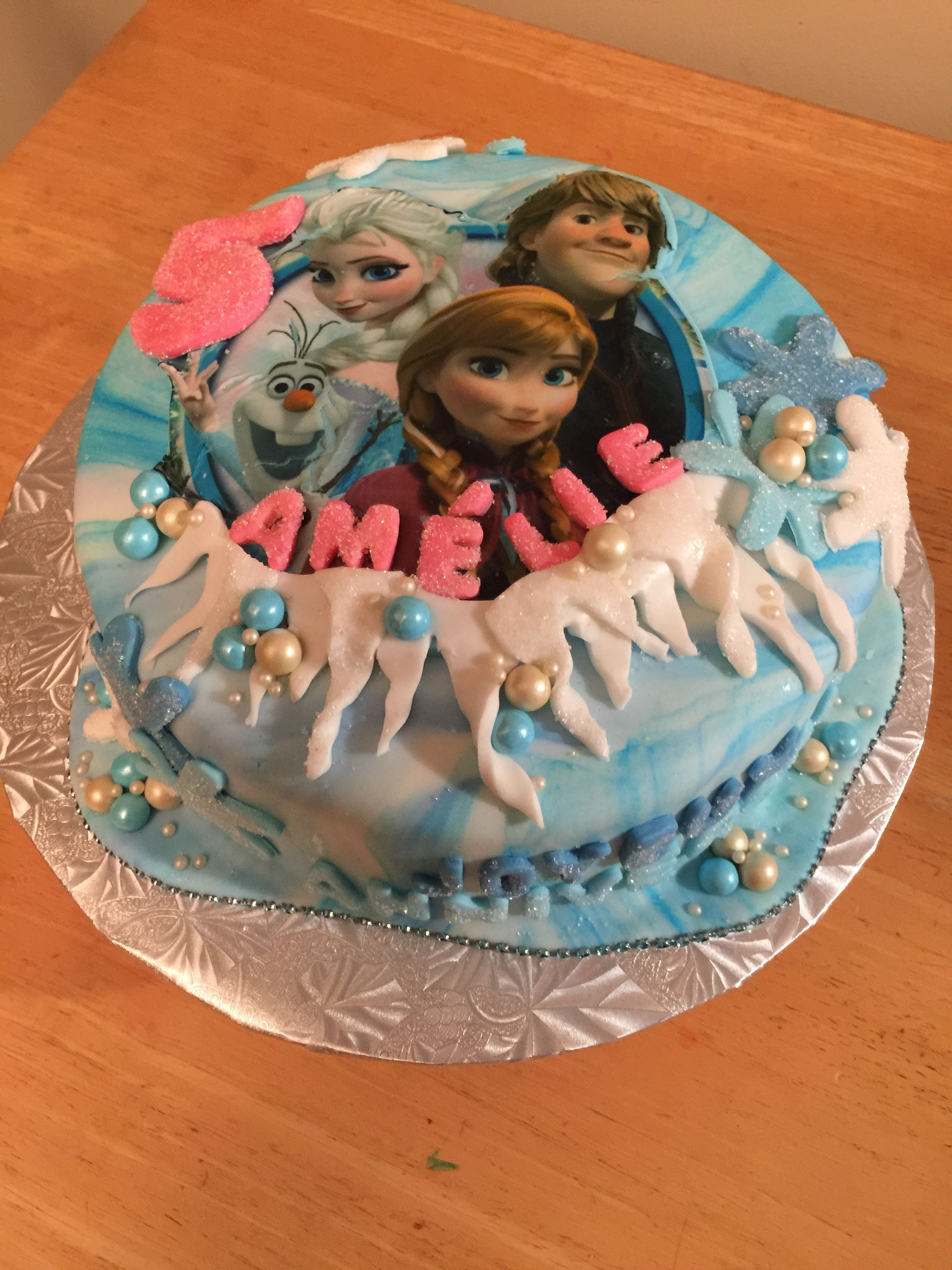 Frozen theme 5th birthday cake Lemon cake with fresh strawberry
