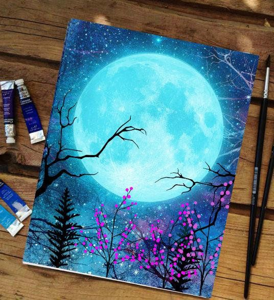 Celestial art painting, blue moon painting, moon print, moon art, crescent/full moon artwork sizes A4 and A3 or A5 mini prints available