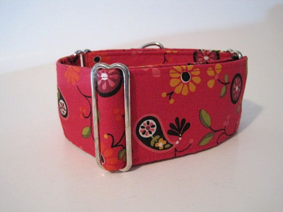 Cranberry Red Floral and Paisley Martingale Collar  $19.99  Available in 1.5 inch and 2 inch martingale collar