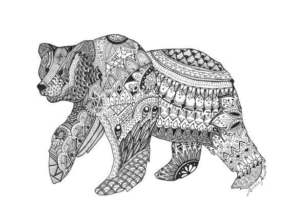 Hand Drawn Zentangle Bear Zentangle Artwork Bear Coloring Pages