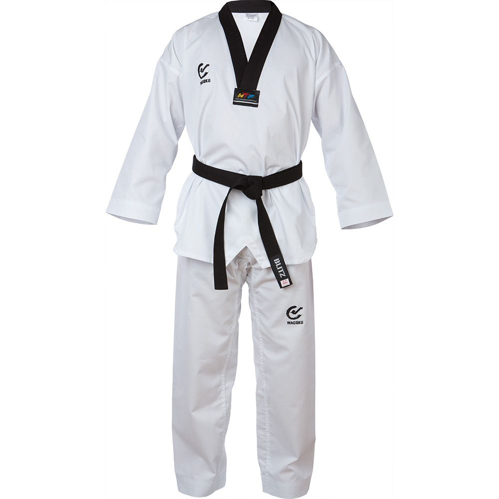 Black V Neck ADIDAS ADI-START TAEKWONDO UNIFORM TKD DOBOK w//White NEW