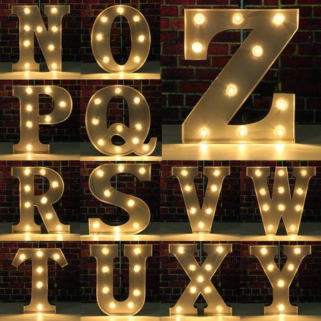 Grtsunsea 9inch Metal Marquee Letter Lights Led Vintage Circus Style N Z Alphabet Light Up Sign Decoration