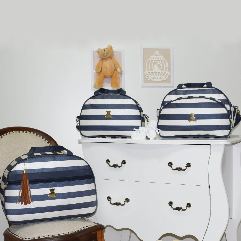 294384903 O Conjunto de Bolsas Maternidade Mónaco Azul Marinho Listrado é luxuoso e  super especial, do