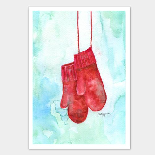 """Set of 10 Christmas cards with a painting of warm red mittens. These 5""""x7"""" greeting cards of my original watercolor painting will warm anyone's heart. These 10"""