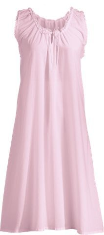 ebb6b36ec2 Sleeveless Cotton Nightgown with Eyelet Trim