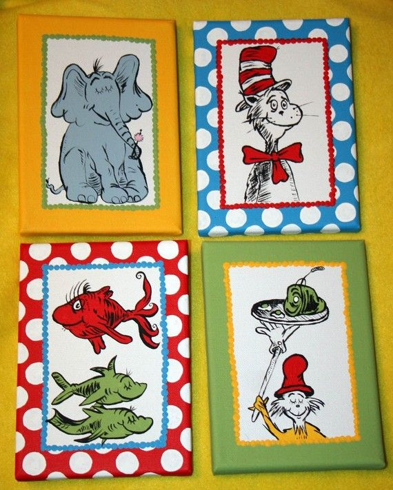 Dr Seuss Wall Decor mini set of 4 dr seuss inspired characters custom hand painted