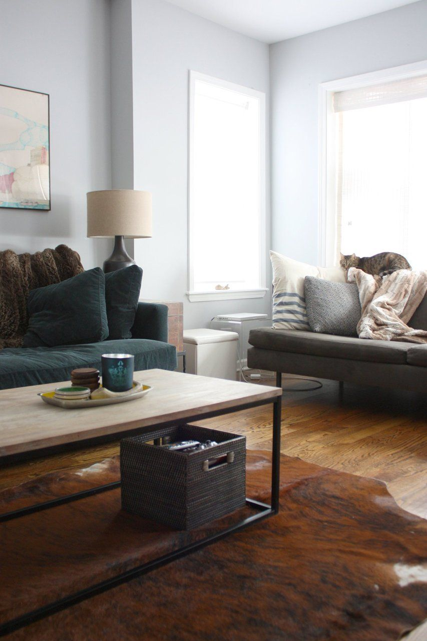 Box Frame Coffee Table + Morten Table Lamp from west elm