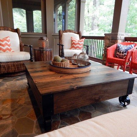 Atlanta Factory Cart Coffee Table Square Wood Coffee Table Cart