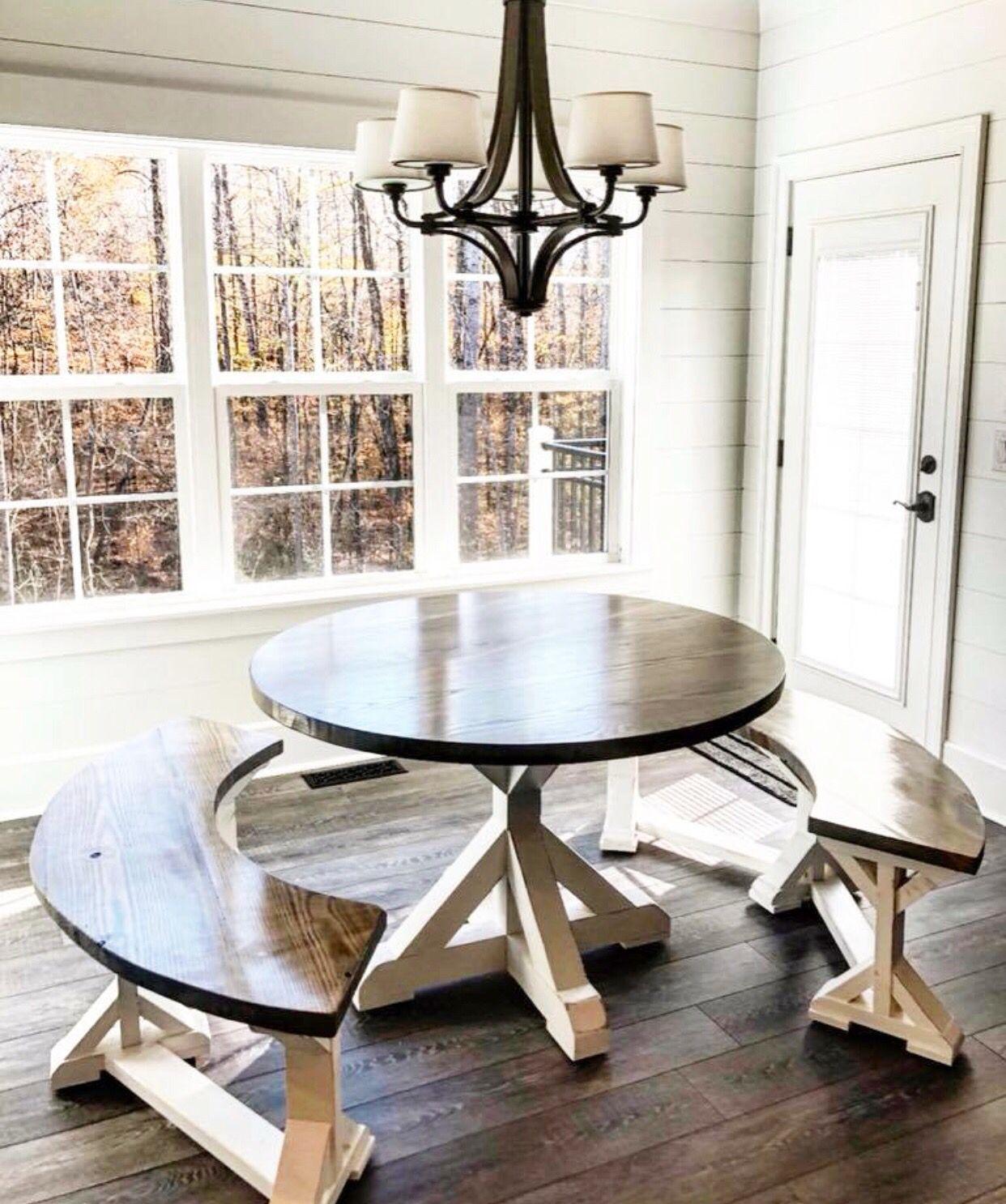 Farmhouse Breakfast Nook Table Farmhouse Dining Room Circle Dining Table Dining Table With Bench