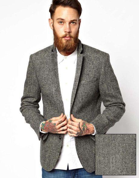 6b1cf6d2b1a grey tweed blazer. ASOS Slim Fit Blazer in Harris ...