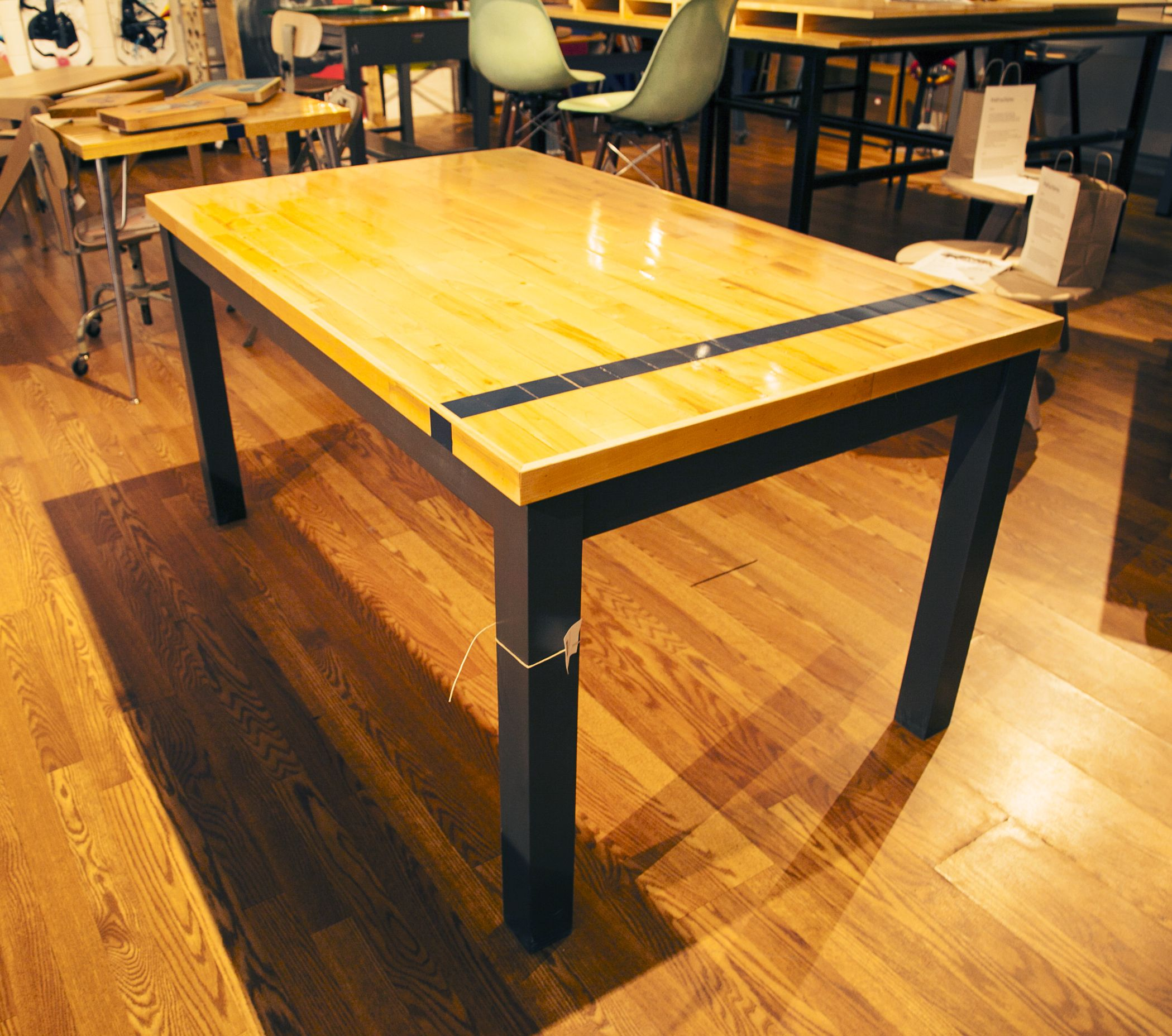 Desk Or Dining, This Upcycled Basketball Flooring Table