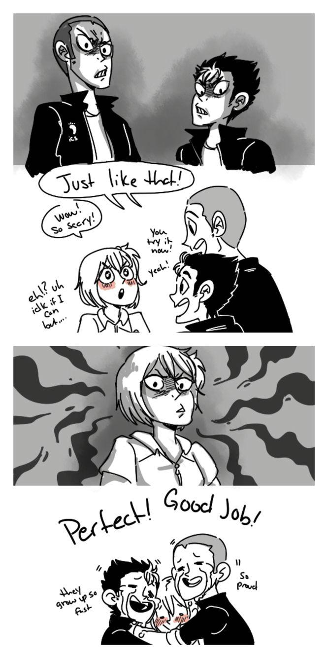 Tanoya teaching Yachi their scary faces | Geekdom | Scary