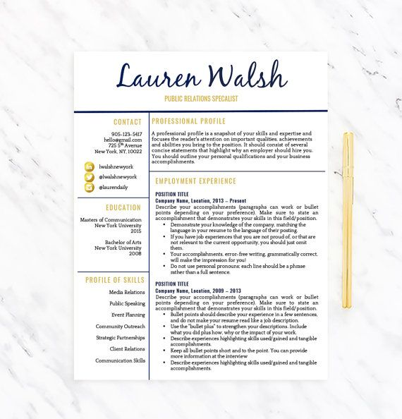 Creative Resume Template for Word Resume + Extras Template - Concise Resume Template